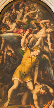 michael the archangel: CREMONA, ITALY - MAY 24, 2016: The Michael archangel painting in Cathedral of Assumption of the Blessed Virgin Mary by Julius Campus cremonensis (1566)