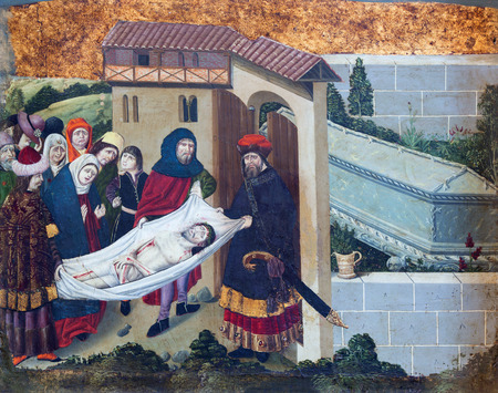 destructed: AVILA, SPAIN, APRIL - 18, 2016: The Gothic paint of Burial of Jesus in Catedral de Cristo Salvador from 15. cent.  (early from destructed church of San Lazaro).