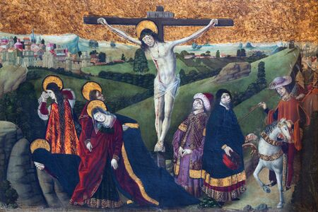 destructed: AVILA, SPAIN, APRIL - 18, 2016: The Gothic paint of the Crucifixion in Catedral de Cristo Salvador from 15. cent. (early from destructed church of San Lazaro). Editorial