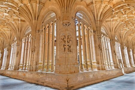 atrium: SALAMANCA, SPAIN, APRIL - 16, 2016: The gothic atrium of monastery Convento de San Esteban.