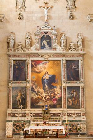 convento: SALAMANCA, SPAIN, APRIL - 17, 2016: The Immaculate conception of Virgin Mary painting on the main altar of Convento de las Agustinas and Iglesia de la Purisima church by Jose de Ribera 1635. Editorial
