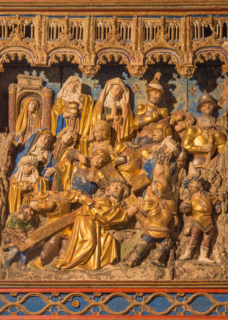 polychrome: SEGOVIA, SPAIN, APRIL - 14, 2016: The polychrome relief Christ under cross in atrium of church Monasterio de San Antonio el Real from 15. cent.