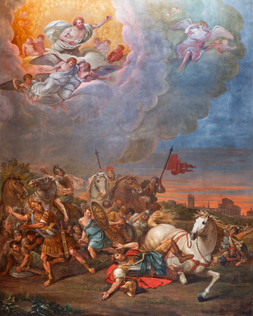 CREMONA, ITALY - MAY 24, 2016: The Conversion of St. Paul fresco in Cathedral of Assumption of the Blessed Virgin Mary by unknown artist  (1811).