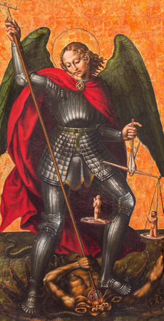 michael the archangel: AVILA, SPAIN, APRIL - 18, 2016: The paint of  archangel Michael on the side altar in Catedral de Cristo Salvador by unknown artist of 16. cent.