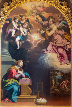 annunciation of mary: CREMONA, ITALY - MAY 24, 2016: The Annunciation painting by Giovanni Battista Trotti (1555 - 1619) in Cathedral of Assumption of the Blessed Virgin Mary.