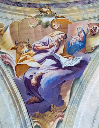 evangelist: BRESCIA, ITALY - MAY 23, 2016: The fresco of st. Luke the Evangelist in cupola of Chiesa di SantAfra church by Antonio Mazza (18. cent.)