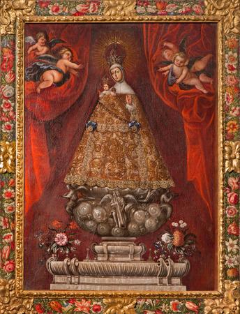 vested: SEGOVIA, SPAIN, APRIL - 14, 2016: The painting of traditional vested Madonna in Cathedral Nuestra Senora de la Asuncion y de San Frutos de Segovia by Alonso de Herrera (1600).