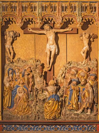 SEGOVIA, SPAIN, APRIL - 14, 2016: The polychrome gothic relief of Crucifixion in atrium of church Monasterio de San Antonio el Real from 15. cent. Editorial