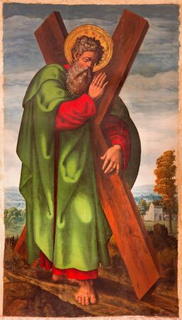 15 18: AVILA, SPAIN, APRIL - 18, 2016: The St. Andrew the apostle painting in Catedral de Cristo Salvador by unknown artist from 15. cent.