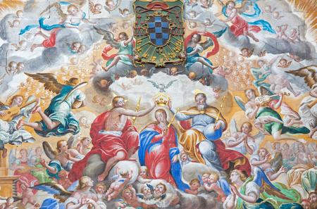 coronation: SALAMANCA, SPAIN, APRIL - 16, 2016: The fresco of Coronation of Virgin Mary by  Antonio de Villamor (1661-1729)  in monastery Convento de San Esteban and Chapel of Rosary. Editorial