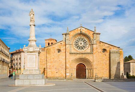AVILA, SPAIN, APRIL - 18, 2016: The Facade of church Iglesia de San Pedro at dusk.