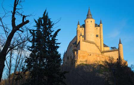 alcazar: Segovia - Alcazar castle in evening light. Editorial