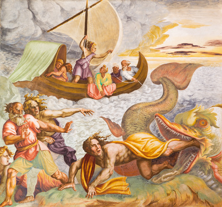 CREMONA, ITALY - MAY 24, 2016: The frescco of scene form Prophet Jonah in the vault in Chiesa di San Sigismondo by Giulio Campi (1564 - 1567)