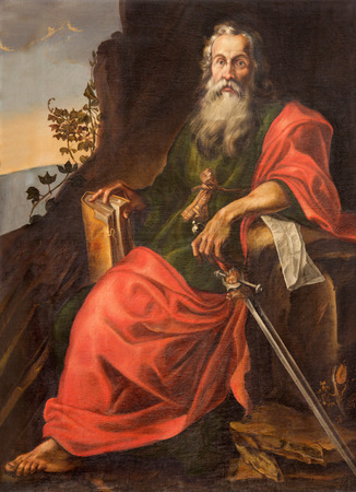 apostle paul: SALAMANCA, SPAIN, APRIL - 16, 2016: The St. Paul painting in Convento de San Esteban by unknown artist of 17. cent.