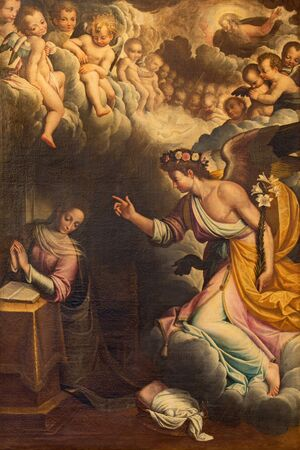 gabriel: CREMONA, ITALY - MAY 25, 2016: The Annunciation paint in church Chiesa di San Vincenzo by Gervasio Gatti (1550 - 1631).