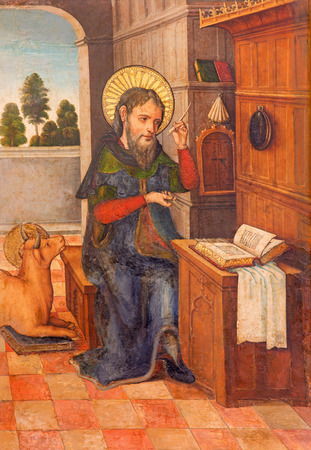bible altar: AVILA, SPAIN, APRIL - 18, 2016: The paint of St. Luke the Evangelist on the side altar in Catedral de Cristo Salvador by unknown artist of 16. cent. Editorial