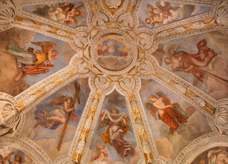 lindt: ROME, ITALY - MARCH 9, 2016: The Stories of the Cross fresco by Pieter van Lindt (1637) on the ceiling of Chapel of most holy Crucifix in church Basilica di Santa Maria del Popolo.