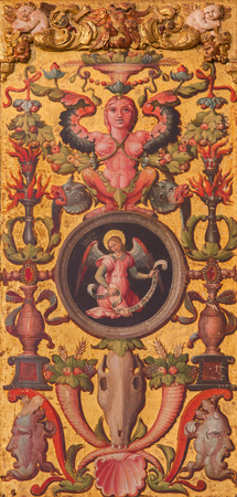 plateresque: AVILA, SPAIN, APRIL - 18, 2016: The plateresque decorative door in the sacristy of  Catedral de Cristo Salvador by by Cornelius de Holanda from 16. cent. with symbolic of st. Matthew the Evangelist. Editorial