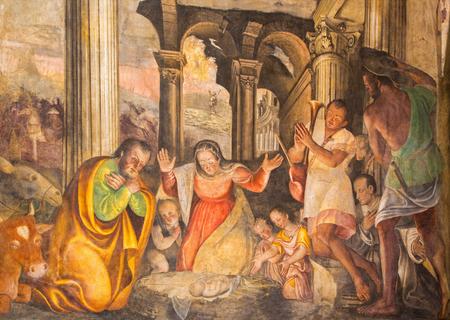 BRESCIA, ITALY - MAY 21, 2016: The Nativity fresco by Lattanzio Gambara ( 1530 - 1574) in church Chiesa del Santissimo Corpo di Cristo.