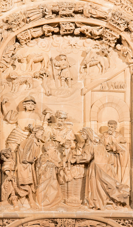 16 17: SALAMANCA, SPAIN, APRIL - 17, 2016: The There Magi relief on the gothic-baroque west portal of the New Cathedral - Catedral Nueva from 16. cent.