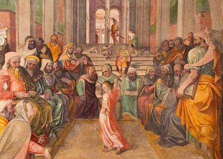BRESCIA, ITALY - MAY 21, 2016: The  fresco Twelve old Jesus in the Temple by  Lattanzio Gambara ( 1530 - 1574) in church Chiesa del Santissimo Corpo di Cristo. Editorial