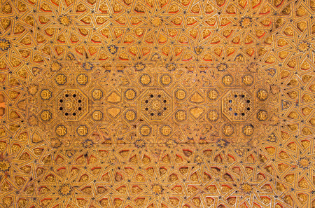 polychrome: SEGOVIA, SPAIN, APRIL - 14, 2016: The mudejar carved and polychrome ceiling of sanctuary in church Monasterio de San Antonio el Real from 15. cent. Stock Photo