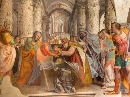 BRESCIA, ITALY - MAY 21, 2016: The fresco Twelve old Jesus in the Temple by by  Lattanzio Gambara ( 1530 - 1574) in church Chiesa del Santissimo Corpo di Cristo. Editorial