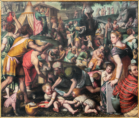 chiesa: BRESCIA, ITALY - MAY 23, 2016: The painting of Gathering the Manna in the Desert in church Chiesa di San Giovanni Evangelista by Alessandro Bonvicino - Moretto (1498 - 1554)