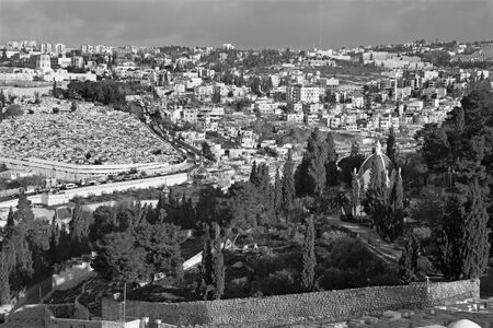 mount of olives: Jerusalem - Outlook from Mount of Olives to Hl. Mary of Magdalene Russian orthodox church in morning light