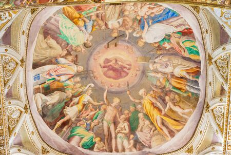 camillo: CREMONA, ITALY - MAY 24, 2016: The fresco Glory of Heaven on cupoloa in presbytery of Chiesa di San Sigismondo by Camillo Boccaccino (1505 - 1546) Editorial