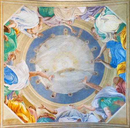 pentecost: CREMONA, ITALY - MAY 24, 2016: The fresco of Pentecost on the vault Chiesa di San Sigismondo church by Giulio Campi (1542).