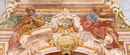 christ church: BRESCIA, ITALY - MAY 21, 2016: The fresco of prophet and king David in Chiesa di Santa Maria della Carita by Ferdinando Cairo and Luigi Vernazal from 18. cent.