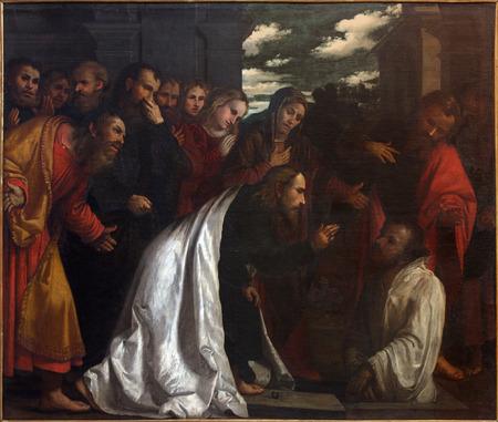chiesa: BRESCIA, ITALY - MAY 23, 2016: The painting of Resurrection of Lazarus in church Chiesa di San Giovanni Evangelista by Girolamo Romani - Romanino (1484 - 1559). Editorial