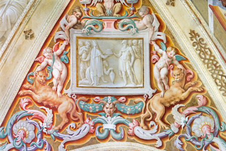 symbolic: CREMONA, ITALY - MAY 24, 2016: The symbolic fresco on the wault in Chiesa di San Sigismondo by Giulio Campi, Bernardino Campi e Bernardino Gatti (1564 - 1567).