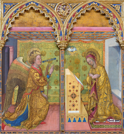 angel gabriel: BRESCIA, ITALY - MAY 23, 2016: The Annunciation paint on the wood by Jacopo Bellini (1395 - 1470) in Chiesa di San Alessandro. Editorial