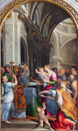 gabriel: BRESCIA, ITALY - MAY 22, 2016: The Presentation of Virgin Mary in the temple in church Chiesa di Santa Maria dei Miracoli by Gracio Cossali (1563 - 1629). Editorial