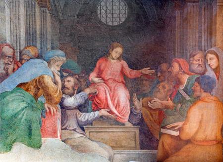 CREMONA, ITALY - MAY 24, 2016: The fresco Twelve old Jesus in the Temple in Chiesa di Santa Rita by Giulio Campi (1547).