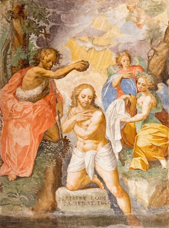 baptist: CREMONA, ITALY - MAY 24, 2016: The fresco of Baptism of Christ in Chiesa di San Agostino by A. Mainardi (1593).