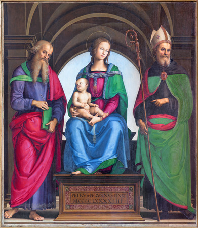 evangelist: CREMONA, ITALY - MAY 24, 2016:  The panting of Madonna, St. John the Evangelist and St. Augustine by Petrus Perusinus (1493) in Cathedral of Assumption of the Blessed Virgin Mary.