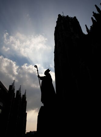 Bruxelles: Brussels - cardinal Mercier statue by st. Michaels cathedral - silhouette