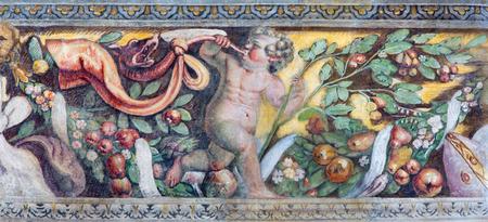 chiesa: BRESCIA, ITALY - MAY 21, 2016:  The symbolic fresco of angel in the Garden of Paradise in church Chiesa del Santissimo Corpo di Cristo by Jesuit Benedetto da Marone (1550- 1565).