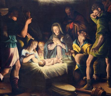 BRESCIA, ITALY - MAY 21, 2016: The painting of Nativity in church Chiesa del Santissimo Corpo di Cristo by Pier Maria Bagnadore (1550 - 1627). Éditoriale