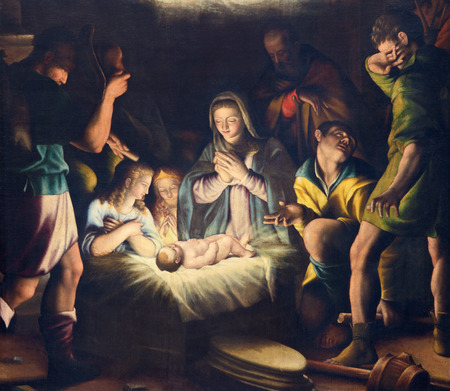 BRESCIA, ITALY - MAY 21, 2016: The painting of Nativity in church Chiesa del Santissimo Corpo di Cristo by Pier Maria Bagnadore (1550 - 1627). Sajtókép