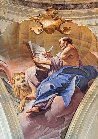 evangelist: the Evangelist in cupola of Chiesa di SantAfra church by Antonio Mazza (18. cent.) Editorial