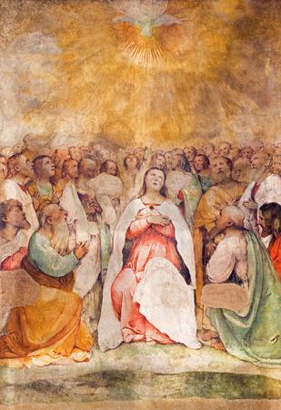 pentecost: BRESCIA, ITALY - MAY 22, 2016: The fresco of Pentecost in church Chiesa di San Francesco dAssisi by Girolamo Romani - Romanino (1484 - 1559).