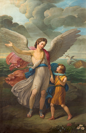 vestment: BRESCIA, ITALY - MAY 21, 2016: The painting of Archangel Raphael and Tobias in church Chiesa di San Zeno al Foro by unknown artist of 19. cent. Editorial