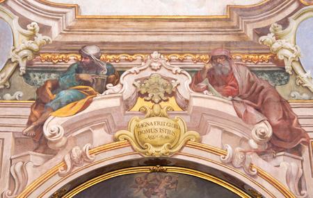 isaiah: BRESCIA, ITALY - MAY 21, 2016: The fresco of prophets Isaiah and Jeremiah in Chiesa di Santa Maria della Carita by Ferdinando Cairo and Luigi Vernazal from 18. cent.