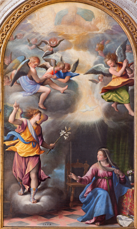 miracoli: BRESCIA, ITALY - MAY 22, 2016: The Annunciation painting in church Chiesa di Santa Maria dei Miracoli by Pietro Maria Bagnatore (1548 - 1627) Editorial