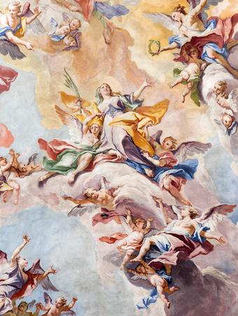 glorification: BRESCIA, ITALY - MAY 23, 2016: The Glory of Santa Eufemia fresco on the wault of presbytery of SantAfra church by Antonio Mazza (18. cent.) by Antonio Mazza and Carlo Innocenzo Carloni. Editorial
