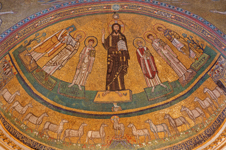 ROME, ITALY - MARCH 10, 2016: The apse mosaic of Christ among the saints in byzantine style in church Basilica di San Marco from the 9. cent. commissioned by Pope St Gregory IV by unknown artist.